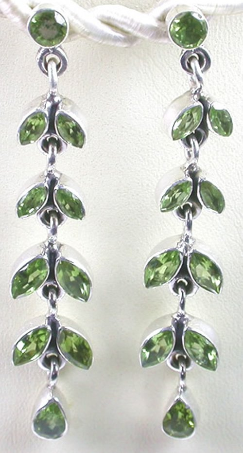 long Green Peridot Earrings in Sterling Silver