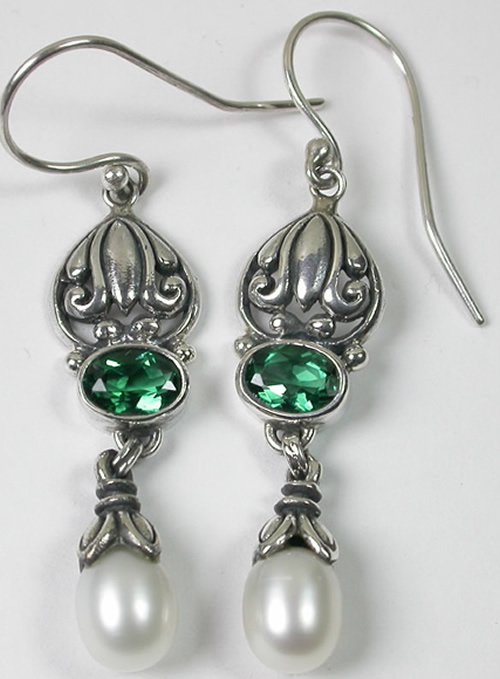 Green Quartz & White Pearl Earrings Sterling Silver