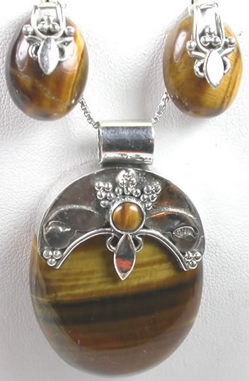 Brown Tigers Eye Pendant and Earrings Set in Sterling Silver