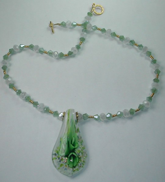 Green & White Floral Lampwork Pendant on Crystal and Bead Necklace