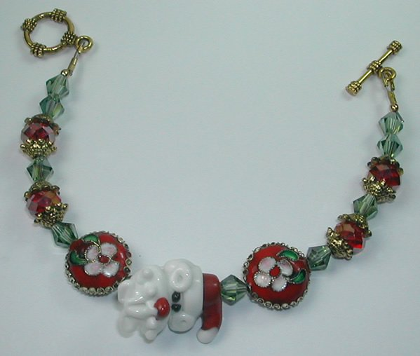 Red & White Lampwork and Red and Pink Cloisonne Christmas Bracelet
