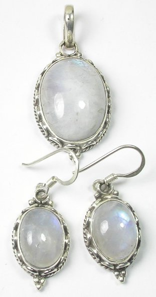 White Moonstone Pendant and Earrings Set in Sterling Silver