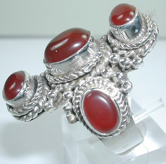 large 5 Red Carnelian Ring in Sterling Silver
