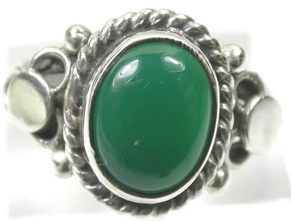Green Onyx Ring in Sterling Silver size 5 1/4