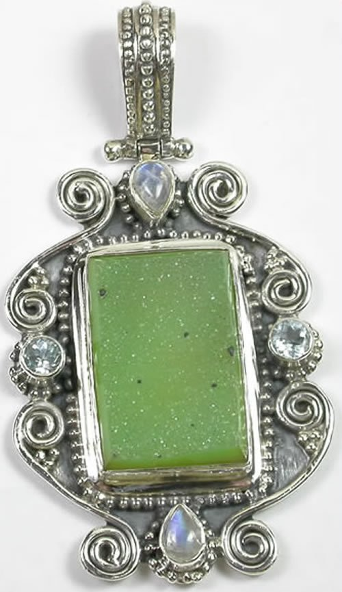 Green Druzy Pendant with Moonstone in Sterling Silver