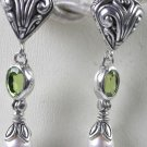 Green Peridot White Pearl Earrings in Sterling Silver