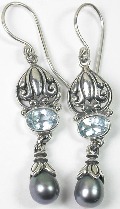 Bali Blue Topaz & Grey Pearl Dangle Earrings in Sterling Silver