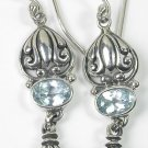 Bali Blue Topaz & Grey Pearl Dangle Earrings in Sterling Silver