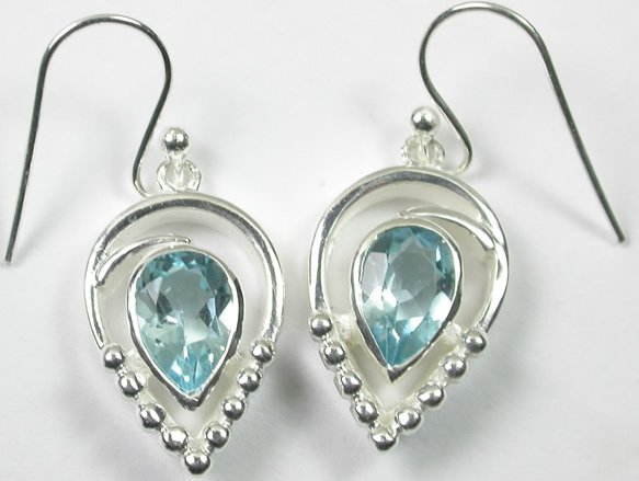 Teardrop Blue Topaz Earrings in Sterling Silver