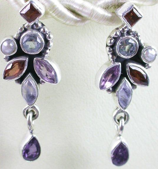 Red & Blue Multigem Earrings in Sterling Silver