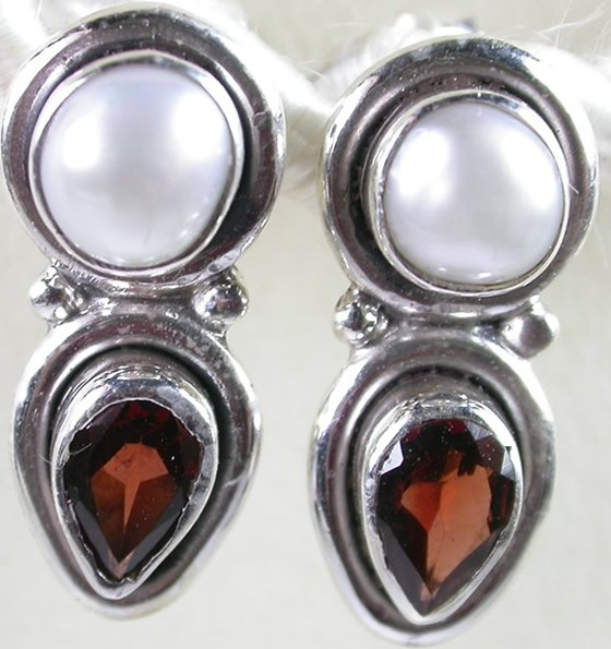 Red Garnet and White Pearl Earrings in Sterling Silver