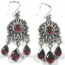 Chandelier Red Garnet Earrings in Sterling Silver