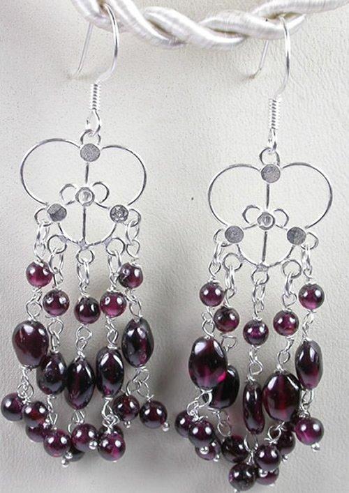 handcrafted Chandelier Red Garnet Earrings in Sterling Silver