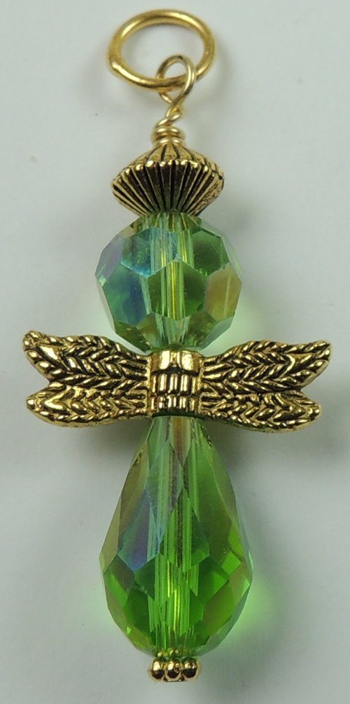 Handcrafted Green Crystal Angel Pendant
