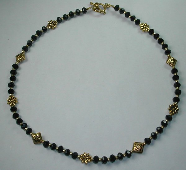 handcrafted Black Crystal Necklace with Gold Plated Flowers