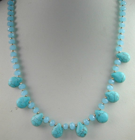 handcrafted Turquoise Howlite and Turquoise Crystal Necklace