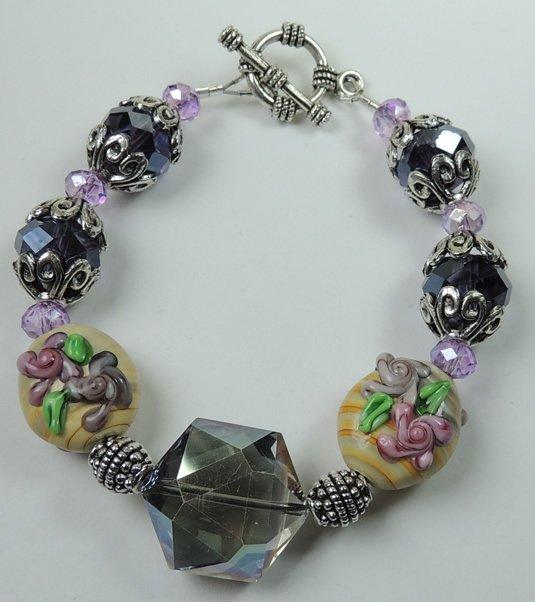 handcrafted Pink Green & Beige Lampwork Floral Bracelet