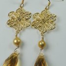 handcrafted Gold Plated Flower Gold Crystal and Gold Pearl Earrings