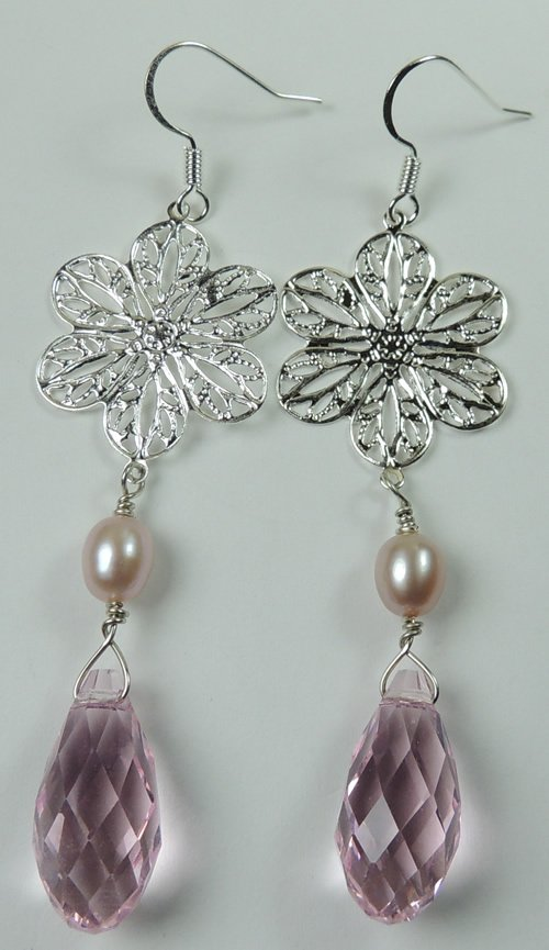 handcrafted Silver Plated Flower Earrings with Pink Pearls and Pink Crystal