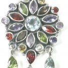 Green purple Multigem Pendant in Sterling Silver