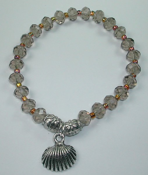 handcrafted Smoky Brown Crystal Stretch Bracelet with Silver Plated Shell