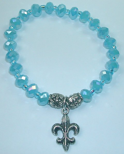 handcrafted Turquoise Crystal Stretch Bracelet with Silver Plated Fleur de Lis