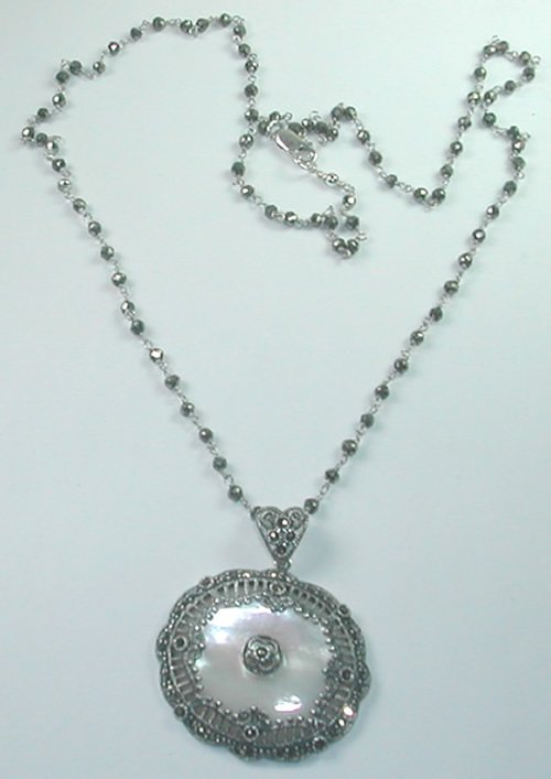 Grey Gunmetal Pyrite Pearly White Mother of Pearl and Marcasite Sterling Silver Necklace