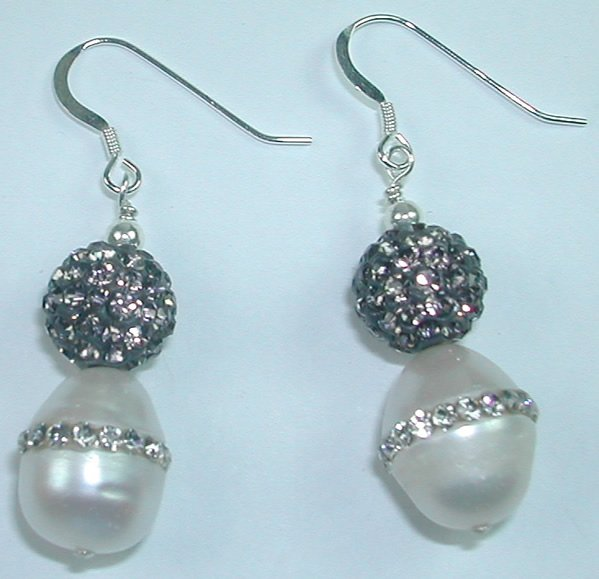 White Pearl Earrings with Rhinestones in Sterling Silver