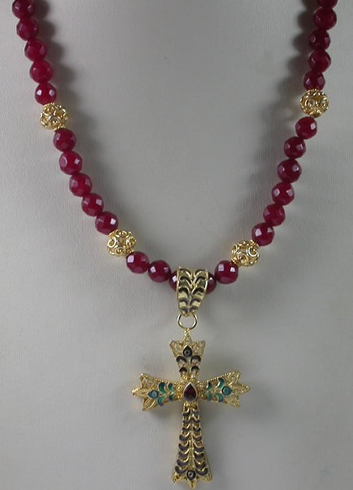 Red Jade Necklace with Sterling Silver Vermeil Garnet Cross