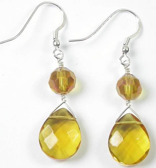 handcrafted Yellow Crystal Earrings in Sterling Silver