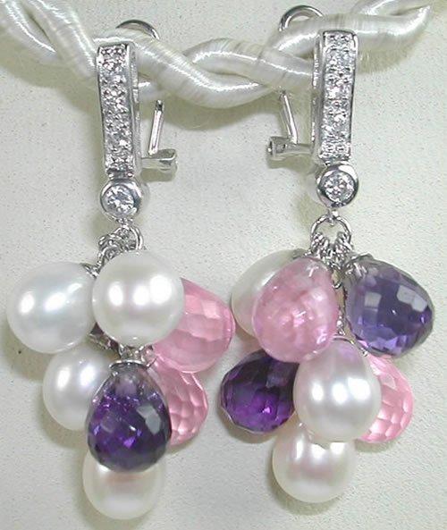 Pink Purple Pearl Quartz Sterling Silver Earrings