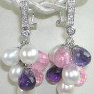 Pink Purple Pearl Quartz Sterling Silver Earrings
