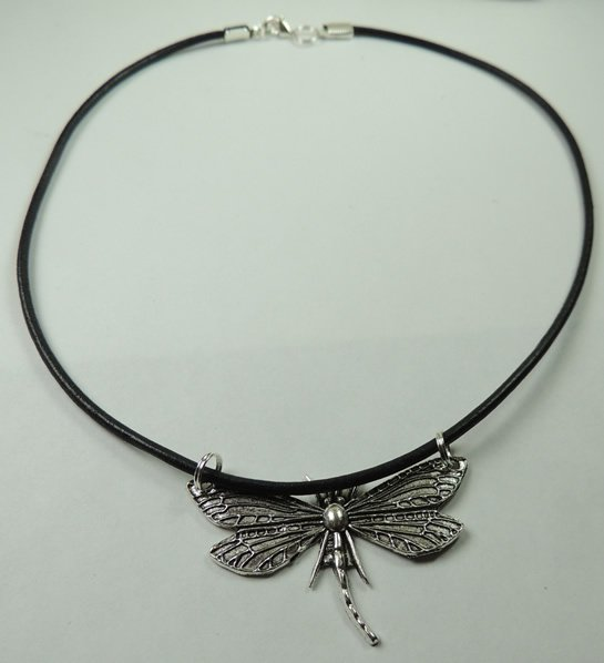 Handcrafted New Unisex Genuine Black Leather Necklace with Silver Tone Dragonfly