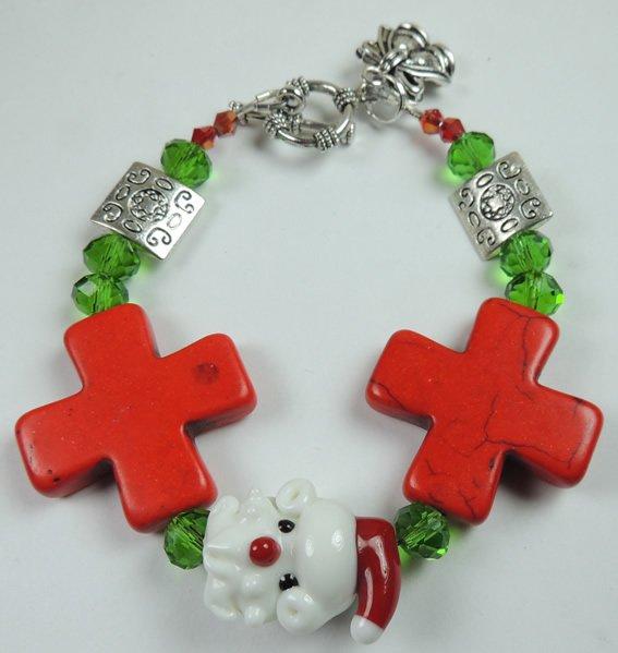 Red & White Christmas Santa Lampwork Bracelet with Red Howlite Crosses & Bell Charm