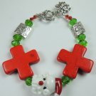Red & White Christmas Santa Lampwork Bracelet with Red Howlite Crosses & Bell Charm