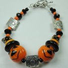New Orange Pumpkin Jack O Lantern Halloween Lampwork Bracelet