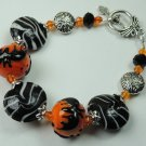 Creepy New  Womans Orange & Black Bat Halloween Lampwork Bracelet