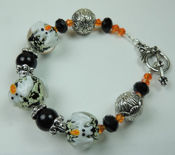 White Black and Orange Glow in the Dark Bat Halloween Lampwork Bracelet
