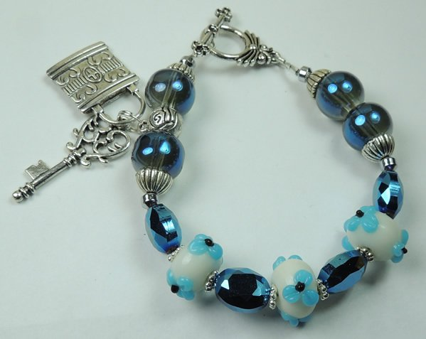 White & Blue Floral Lampwork Bracelet with Metal Plated Silver Tone Key & Lock Charms