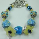 Turquoise & Beige Floral Lampwork with Blue Floral Polymer Clay Beads & Yellow Lucite