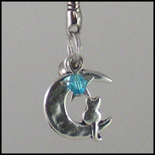 Sailor Moon Luna ~ Cat on a Crescent Moon Key Chain (Blue)