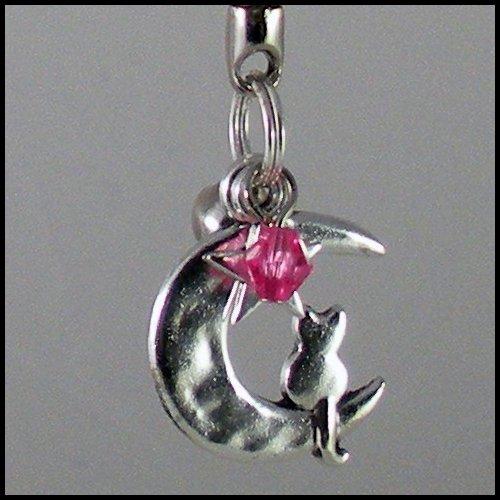 Sailor Moon Luna ~ Cat on a Crescent Moon Key Chain (Dark-Pink)