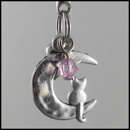 Sailor Moon Luna ~ Cat on a Crescent Moon Key Chain (Light-Pink)