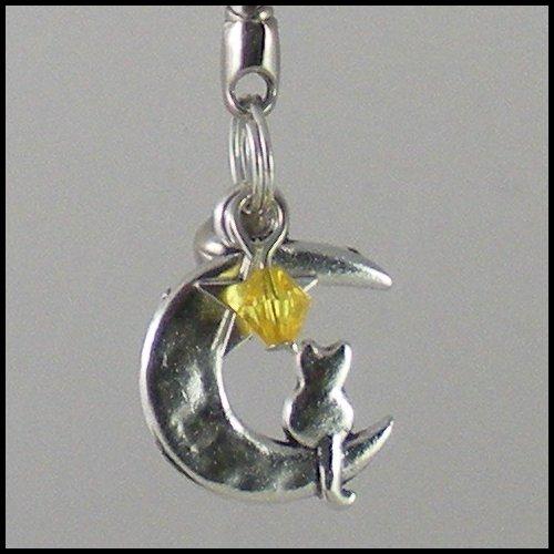 Sailor Moon Luna ~ Cat on a Crescent Moon Key Chain (Yellow)