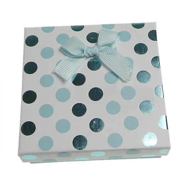Cardboard Jewelry Gift Box, Square, Aqua, 90x90x30mm