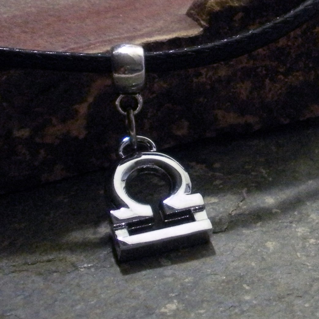 Silver Zodiac Charm Necklace - Libra the Scales (leather)