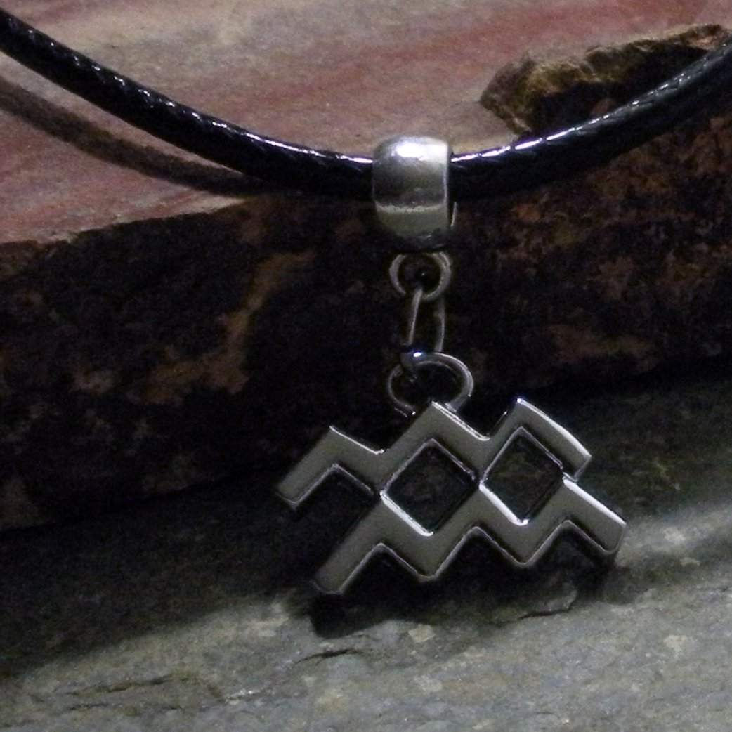 Silver Zodiac Charm Necklace - Aquarius the Water Bearer (leather)