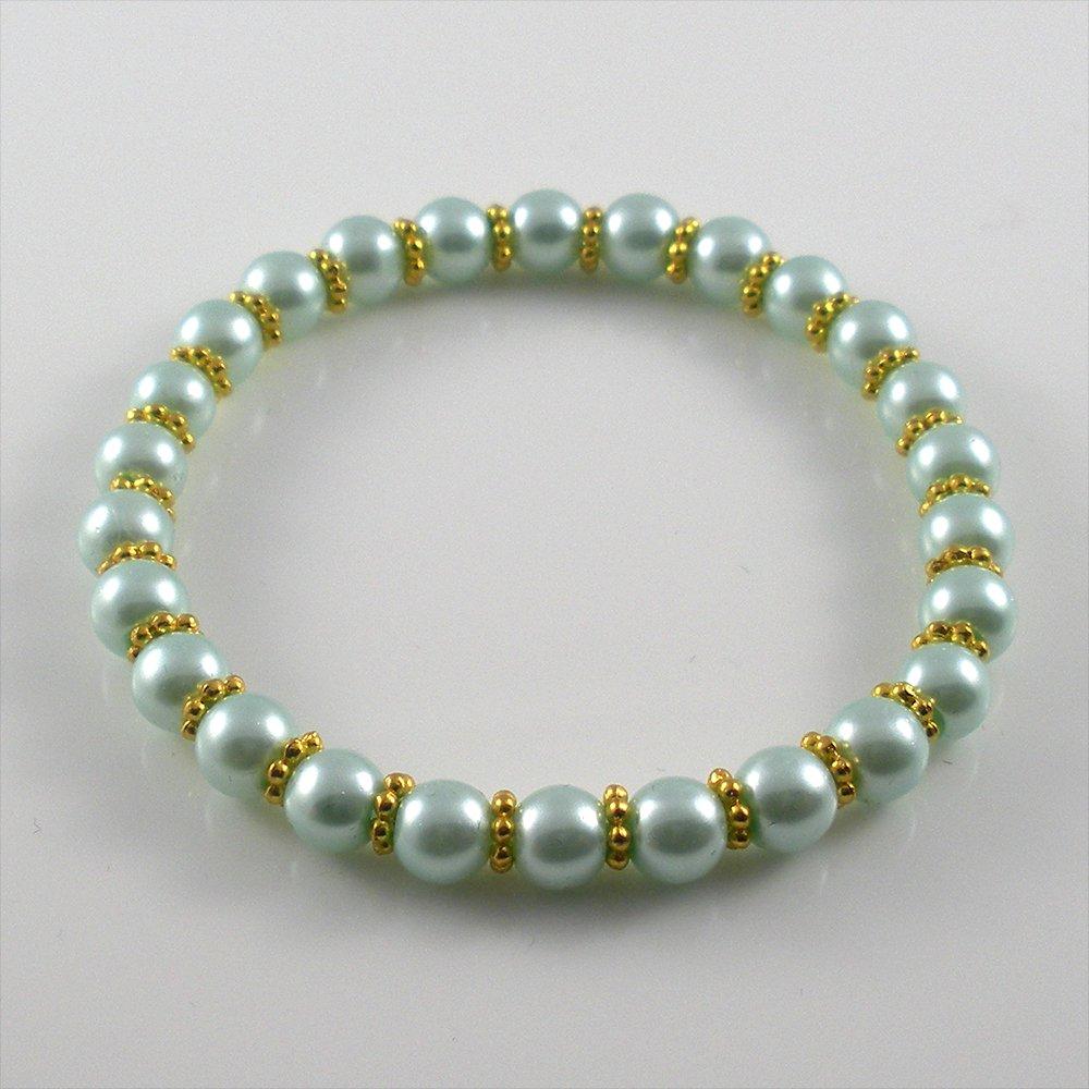 [33] [Gold] Kamala Glass Pearl Elastic Bracelet - Sky Blue