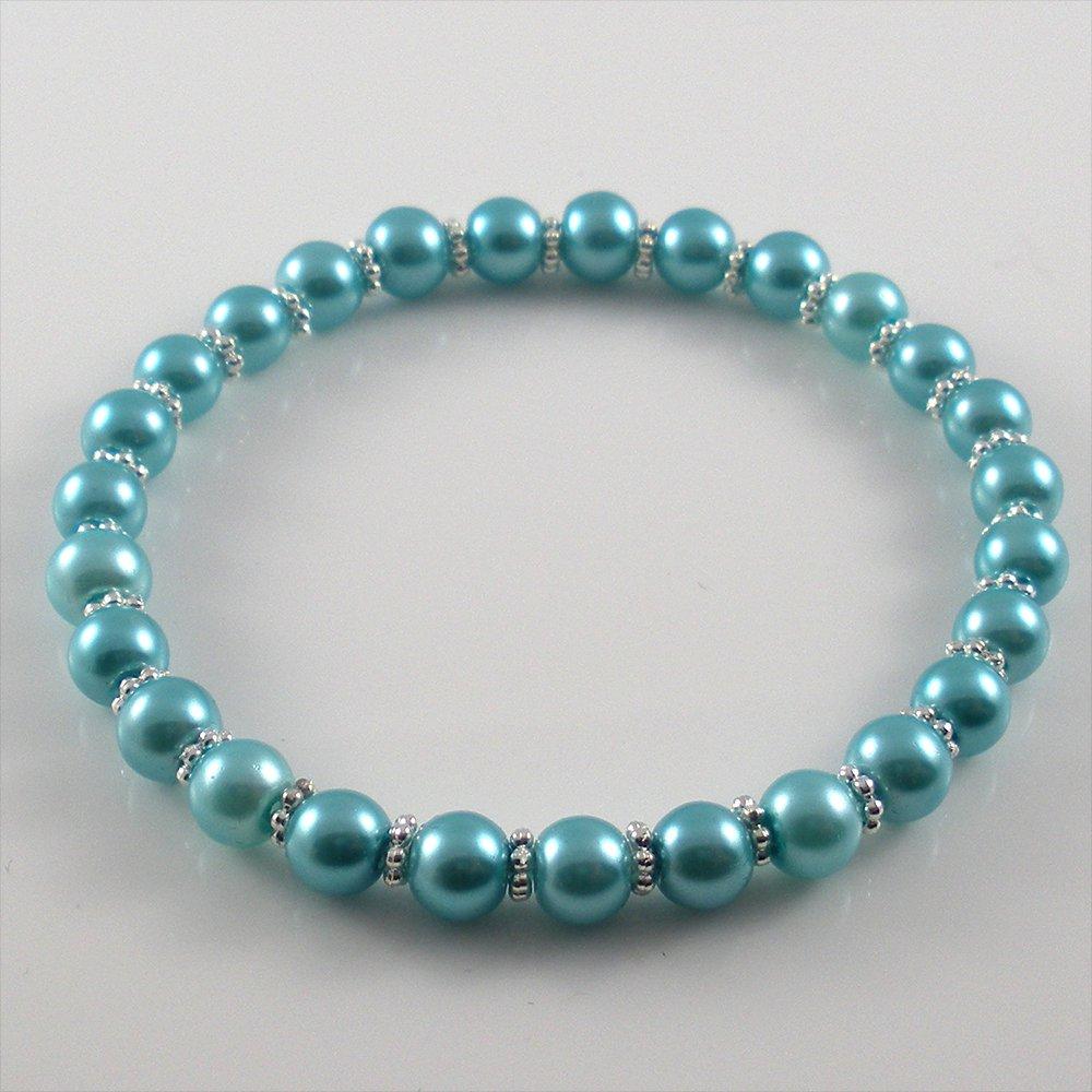 [34] [Silver] Kamala Glass Pearl Elastic Bracelet - Aquamarine