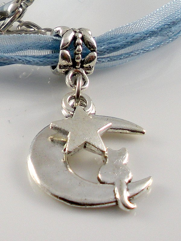 Lake Blue Ribbon Necklace ~ Sailor Moon Luna ~ Cat on a Crescent Moon Silver Star